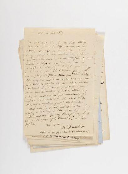 BAUDELAIRE (Charles). Ensemble de 15 lettres...