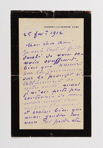 MONET (Claude). Lettre autographe signée...