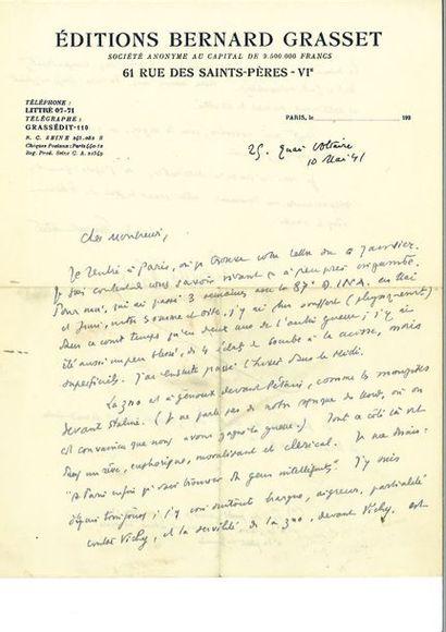 MONT HERLANT (Henry de). 2 lettres autographes...