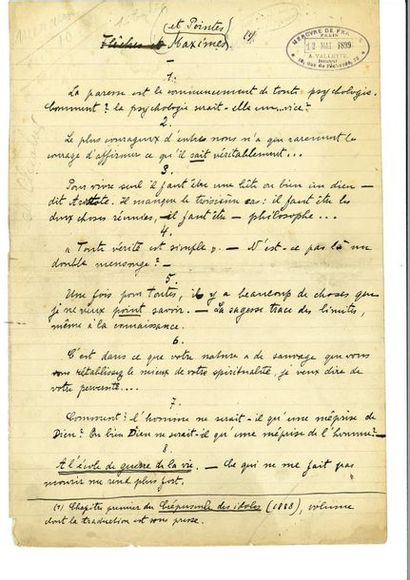 [NIETZSCHE]. – ALBERT (Henri). Manuscrit...