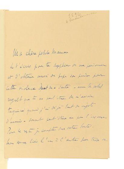 PROUST (Marcel). 2 lettres autographes signées « Marcel » à sa mère, et portrait...