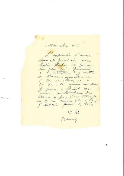 RENOIR (Auguste). Lettre autographe signée...