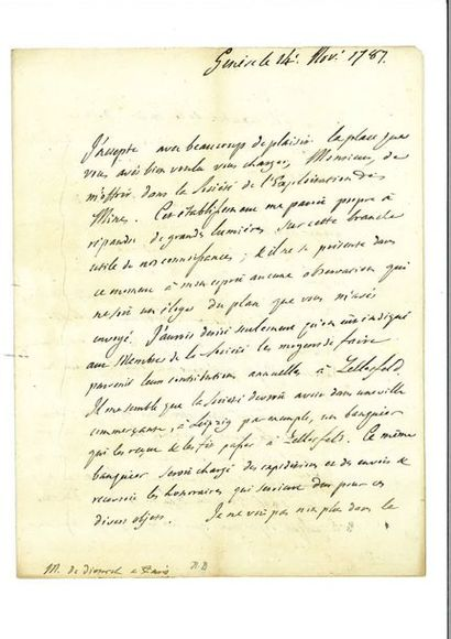 SAUSSURE (Horace-Bénédict de). Lettre autographe...