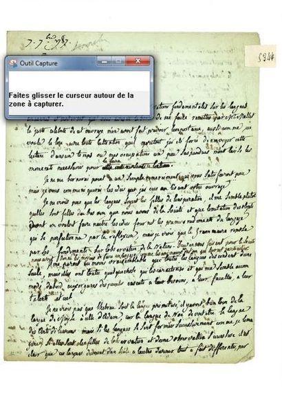 SÉNEBIER (Jean). Lettre autographe signée...