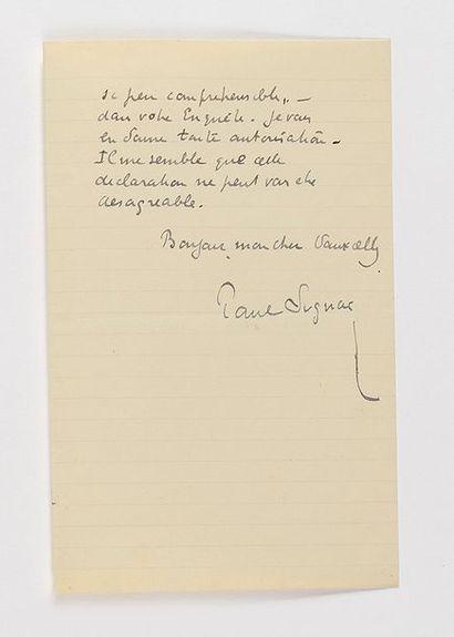 SIGNAC (Paul). Lettre autographe signée à...