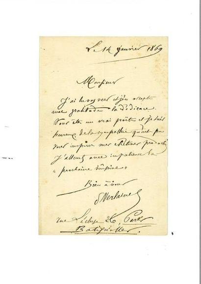 VERLAINE (Paul). Lettre autographe signée...