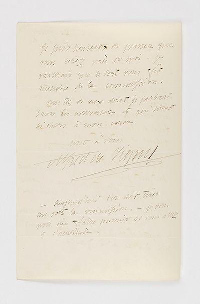 VIGNY (Alfred de). Lettre autographe signée à son « cher ami » [probablement Alexandre...