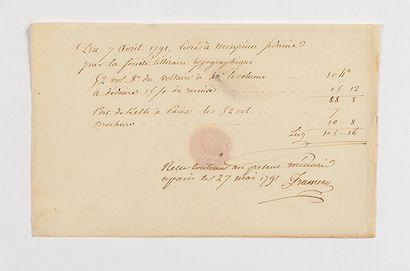 [VOLTAIRE]. – Pièce manuscrite. Paris, 7...
