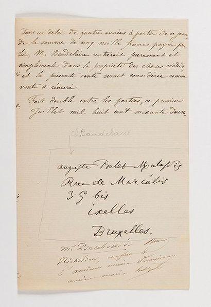 BAUDELAIRE (Charles). Poème autographe (5...
