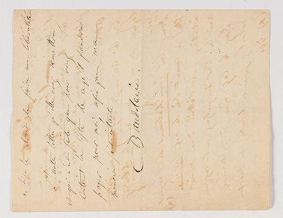 BAUDELAIRE (Charles). Lettre autographe signée « C. Baudelaire » à Narcisse Ancelle,...