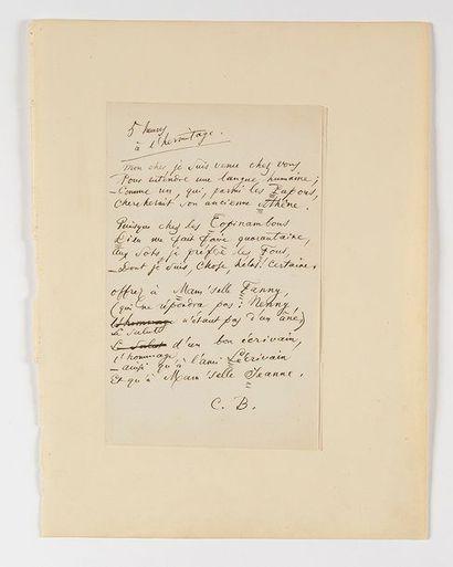 BAUDELAIRE (Charles). Poème autographe signé...