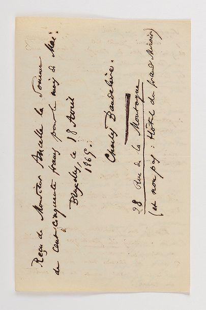 BAUDELAIRE (Charles). Lettre autographie...