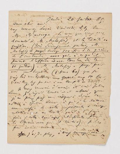 BAUDELAIRE (Charles). Lettre autographe signée...