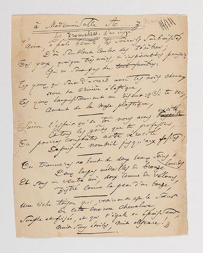 BAUDELAIRE (Charles). Poème autographe intitulé...