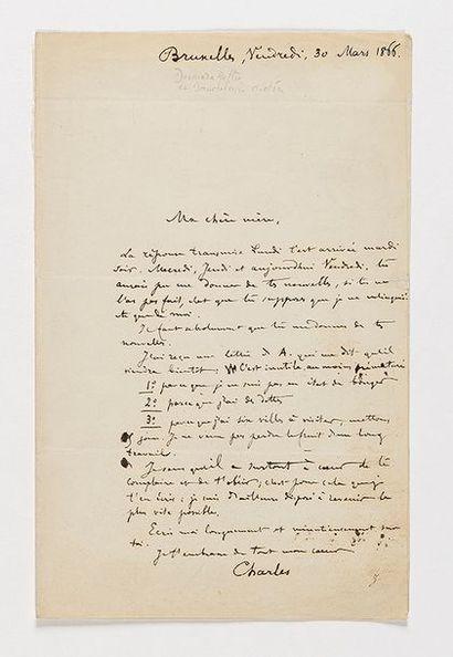 BAUDELAIRE (Charles). Lettre manuscrite,...