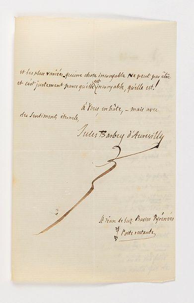 BARBEY D'AUREVILLY (Jules). Lettre autographe signée à Charles Baudelaire. Saint-Jean-de-Luz,...