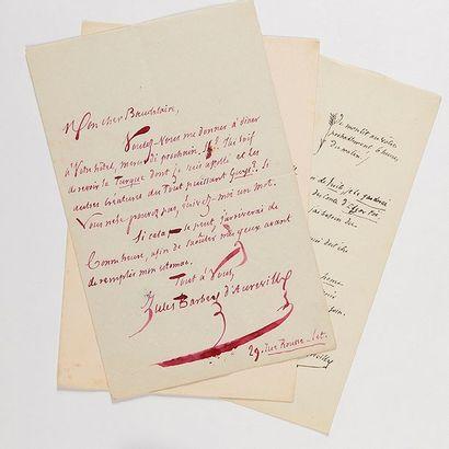 BARBEY D'AUREVILLY ( Jules). 3 lettres autographes...