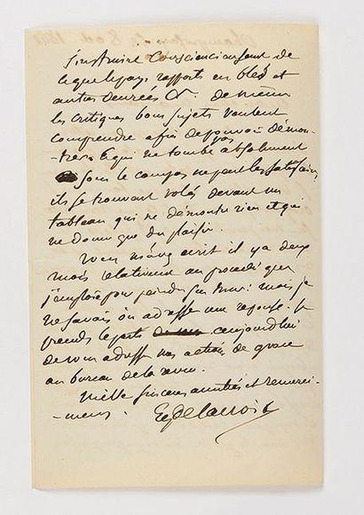 DELACROIX (Eugène). Lettre autographe signée...