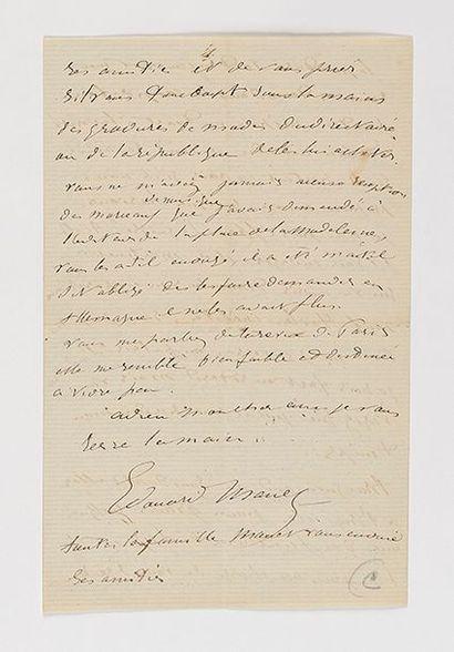 MANET (Édouard). Lettre autographe signée...