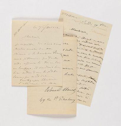 MANET (Édouard). 3 lettres autographes signées...