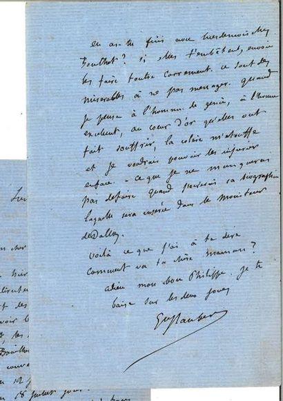 FLAUBERT (Gustave). Lettre autographe signée à Philippe Leparfait. « Lundi 4 h....
