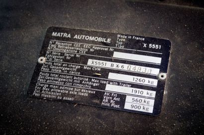 1981  MATRA MURENA  Numéro de série X5551BX604830  Carte grise française  C'est...