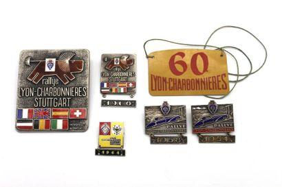 """Rallye Lyon-Charbonnières-Stuttgart""  - Badge de calandre émaillé du ""Rallye Lyon-Charbonnières-..."