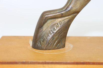 «Lièvre courant»  Mascotte signée R.C Ireland. Bronze argenté. Montée sur socle...