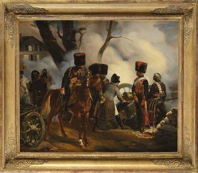 Horace VERNET (Paris 1789 – 1863) « Napoléon à Montereau » Huile sur toile Signée...