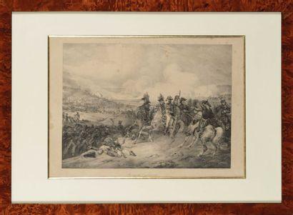 Paire de lithographies de C. Motte. -« Bataille...