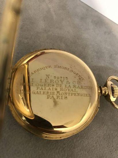 MONTRE DE GOUSSET Leroy à Paris   Montre de gousset en or jaune 18 k.  Cadran émaillé...