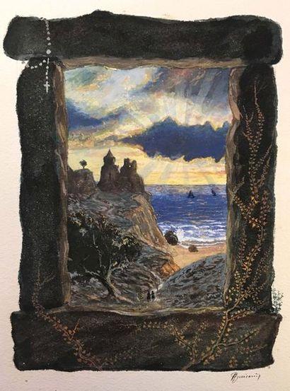Antoine GUIRAUD (1800-1879) Un peintre Aquarelle...
