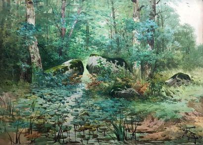 Hippolyte Jean Adam GIDE (1852-1921) Etang...
