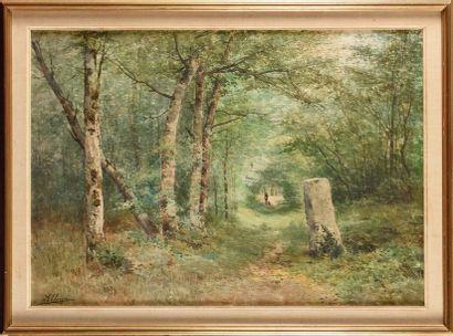 Auguste ALLONGÉ (1833-1898) Foret à Fontainebleau...