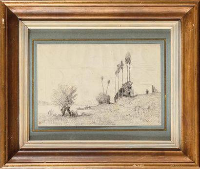 Auguste ANASTASI (1820-1889) Au bord de l'île...