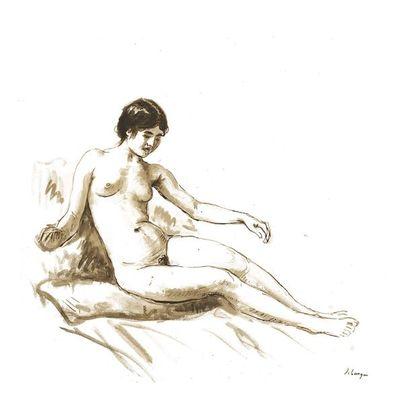 Henri Baptiste LEBASQUE (1865-1937) Nu assis...