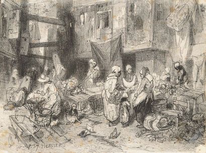 Louis Adolphe HERVIER (1818-1879) Le marché...