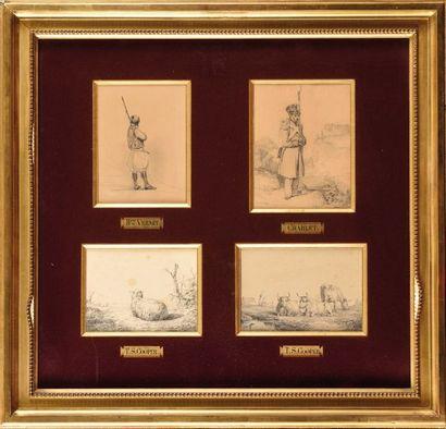 ENSEMBLE de quatre dessins. Horace VERNET...