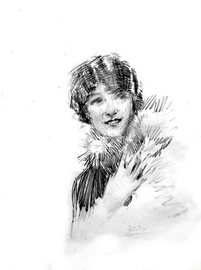 Lucien BOULIER (1882-1963) Elegante Crayon...