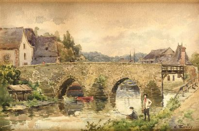 William Georges THORNLEY (1857-1935) Pêcheurs...