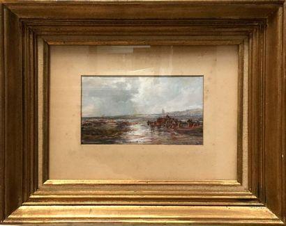 Edwin HAYES (1819-1904) Marine au clair de lune Gouache signée en bas à droite 12...