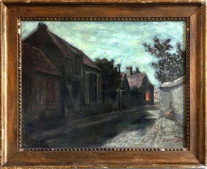 Gaston CORNIL (1883-?) Rue de village Huile sur toile Signée en bas à gauche 43...