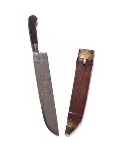Couteau à découper de vènerie. Poignée en...