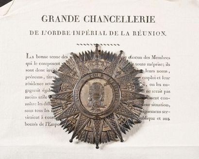 FRANCE ORDRE IMPERIAL DE LA REUNION, institué en 1811 Plaque de grand-croix du Général...