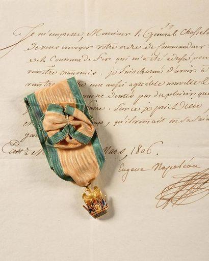 ROYAUME D'ITALIE ORDRE DE LA COURONNE DE FER, créé en 1805. Rare bijou de commandeur,...