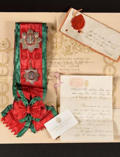 CAMBODGE ORDRE ROYAL DU CAMBODGE, créé en 1864. Ensemble de grand-croix, du modèle...