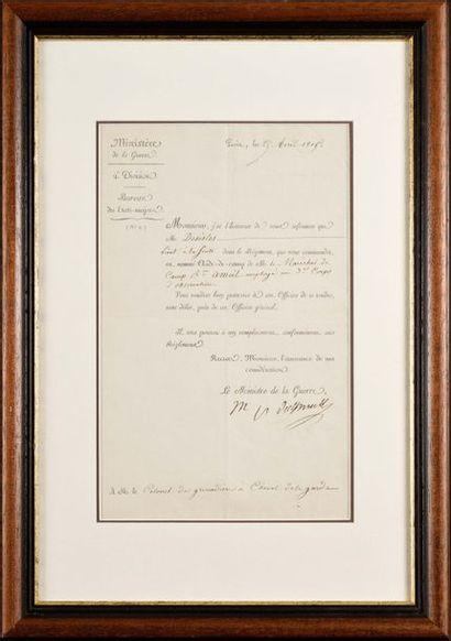 L.S. du Maréchal DAVOUT au Colonel des grenadiers...