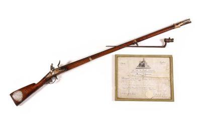 Fusil d'honneur à silex décerné au Grenadier Jean CHABEAU ou CHABOT de la 72e demi...