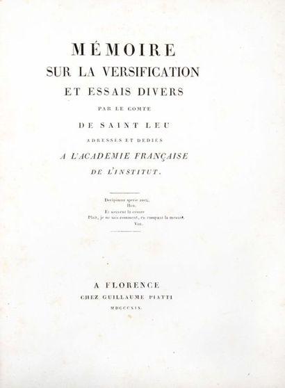 LOUIS BONAPARTE. Mémoire sur la versification...