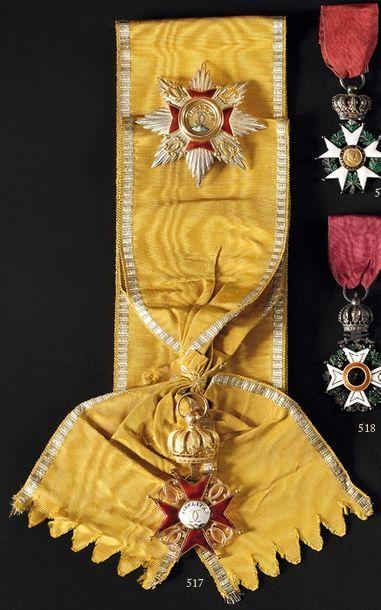 DUCHE DE BADE ORDRE DE LA FIDELITE, institué en 1715. Ensemble de grand croix ayant...